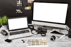 Mockup design monitor working desk white space designer screen Stock Photos