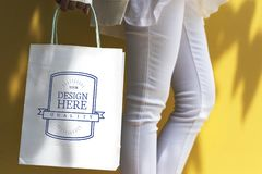 Mockup design space on a shopping bag Royalty Free Stock Image