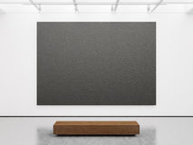 Mockup of empty gallery interior with black canvas Stock Image