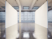 Mockup of empty gallery interior with white canvas Royalty Free Stock Photos