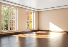Mockup empty interior with large Windows. 3d rendering.  Stock Image