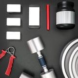 Mockup fitness elements. Bodybuilding. Stock Images