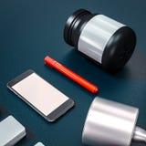 Mockup fitness elements. Bodybuilding. Royalty Free Stock Photo