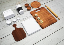 Mockup of food and kitchen.3d Royalty Free Stock Image