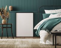 Free Mockup Frame In Cozy Dark Blue Bedroom Interior Background, Farmhouse Style Stock Photography - 206154772
