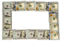Mockup frame made of hundred-dollar banknotes isolated on white with copy space Royalty Free Stock Photography