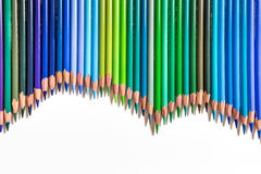 Mockup from green and blue pencils Royalty Free Stock Photos