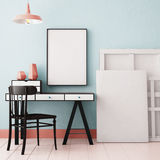 Mockup in hipster style workspace. trend color. Stock Image