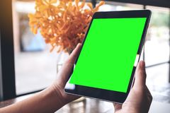 Mockup image of hands holding black tablet pc with blank green screen and flower vase on wooden table Stock Photography