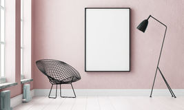 Mockup interior with a poster and a floor lamp. trend color. 3d Royalty Free Stock Photography