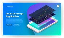 Mockup landing page website design concept stock exchange mobile. Application. Isometric vector illustrations royalty free illustration