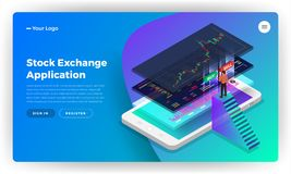 Mockup landing page website design concept stock exchange mobile. Application. Isometric vector illustrations vector illustration
