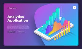 Mockup landing page website isometric design concept mobile application analytics tools. Vector illustrations. stock illustration