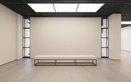 Mockup of light empty exhibition gallery with bench. Concrete floor. Loft design 3d render Stock Photography