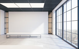 Mockup of light empty exhibition gallery with bench. Concrete floor. Loft design 3d render. Mockup of light empty exhibition gallery with bench. Concrete floor Royalty Free Stock Photography