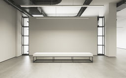 Mockup of light empty exhibition gallery with bench. Concrete floor. Loft design 3d render. Mockup of light empty exhibition gallery with bench. Concrete floor Royalty Free Stock Images