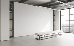 Mockup of light empty exhibition gallery with bench. Concrete floor. Loft design 3d render Royalty Free Stock Image