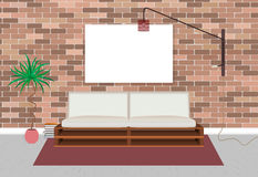 Mockup living bedroom interior in hipster style with empty frame, bed, lamp and brick wall. Stock Photography