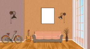 Mockup living room interior with empty frame, bicycle, guitar, wood flooring and window. Loft design concept. Royalty Free Stock Image