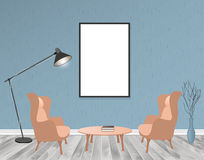 Mockup living room interior in hipster style with empty frame, two armchairs, lamp and table. Loft dwelling design. Royalty Free Stock Photo