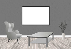 Mockup living room interior in hipster style with frame, table, armchair and concrete wall. Loft dwelling design. Stock Images