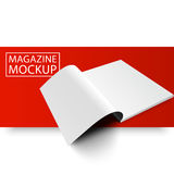 Mockup magazine red line8-01. Blank magazine mockup template. Opened magazine. Red Line series. Realistic vector EPS10 illustration Royalty Free Stock Photography
