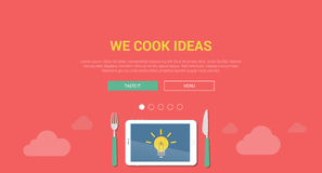 Mockup modern flat design concept for creative idea cooking Stock Photography