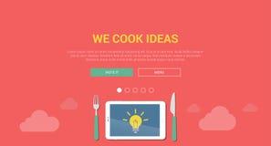 Mockup modern flat design concept for creative idea cooking. Mockup modern flat design vector illustration concept for creative idea cooking. Tablet lamp light Stock Photography