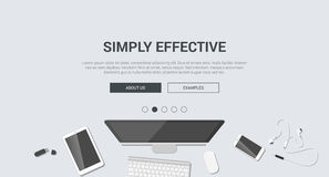 Mockup modern flat design for creative simply effective Stock Images
