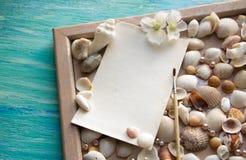 Mockup na tle morze łuska temat, wakacje, list, pocztówka Fotografia Stock
