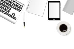 A mockup of office desk with a smartphone, a keyboard, notebooks and a cup of coffee. Realistic shadows. Can be used as a template for your design. Vector Stock Images