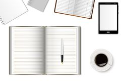A mockup of office desk with a smartphone,  notebooks and a cup of coffee. Realistic shadows. Can be used as a template for your design. Vector illustration Royalty Free Stock Image