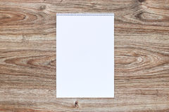 Mockup of open album with blank white page. Vertical orientation Royalty Free Stock Images