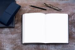 Mockup of open notebook. Stock Images