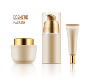 Mockup of packages for cosmetic. Blank template of packages for cosmetic. Set of empty realistic plastic containers with gold caps: body cream jar, tube, foam Stock Image