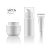 Mockup of packages for cosmetic. Collection blank template of packages for cosmetic. Set of empty realistic plastic containers: body cream jar, tube, foam with Royalty Free Stock Photos