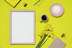 Mockup photo frame on the background with flowers, coffee, cake stock photography