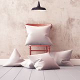 Mockup pillows in the interior. 3d Stock Photo