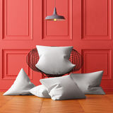 Mockup pillows in the interior. 3d Royalty Free Stock Photos