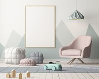 Mockup poster in the children`s room in pastel colors. Scandinavian style. 3d illustration. Mockup poster in the children`s room in pastel colors. Scandinavian Stock Image