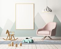Mockup poster in the children`s room in pastel colors. Scandinavian style. 3d illustration. Mockup poster in the children`s room in pastel colors. Scandinavian Royalty Free Stock Images