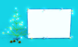 Mockup poster with Christmas tree and butterflies. Easel. Mockup poster with Christmas tree and butterflies on the blue background. New Year 2017, spruce with Stock Images