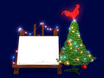 Mockup poster with Christmas tree and glass red rooster. Easel. Mockup poster with Christmas tree and with glass red rooster on the blue background. New Year Stock Images