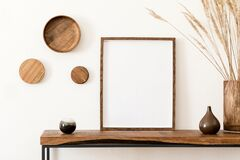 Free Mockup Poster Frame And Wooden Console With Interior Accessories. Stock Photos - 176141733