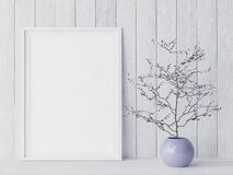 Free Mockup Poster Frame Close Up In Coastal Style Interior With Purple Flower Vase, Royalty Free Stock Image - 192820056