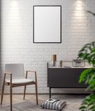 Mockup Poster in the interior, 3D illustration of a modern design.  Stock Photo