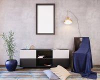 Mockup Poster in the interior 3D illustration of a modern design. Mockup Poster in the interior 3D illustration of a modern design Stock Images