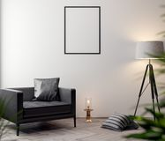 Mockup Poster in the interior, 3D illustration of a modern design.  Stock Image
