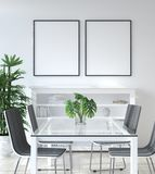 Mockup poster in living room, Scandinavian style royalty free stock images