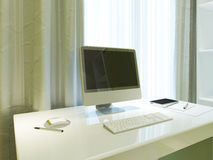 Mockup poster monitor on the desktop in Contemporary interior. 3D render Royalty Free Stock Images